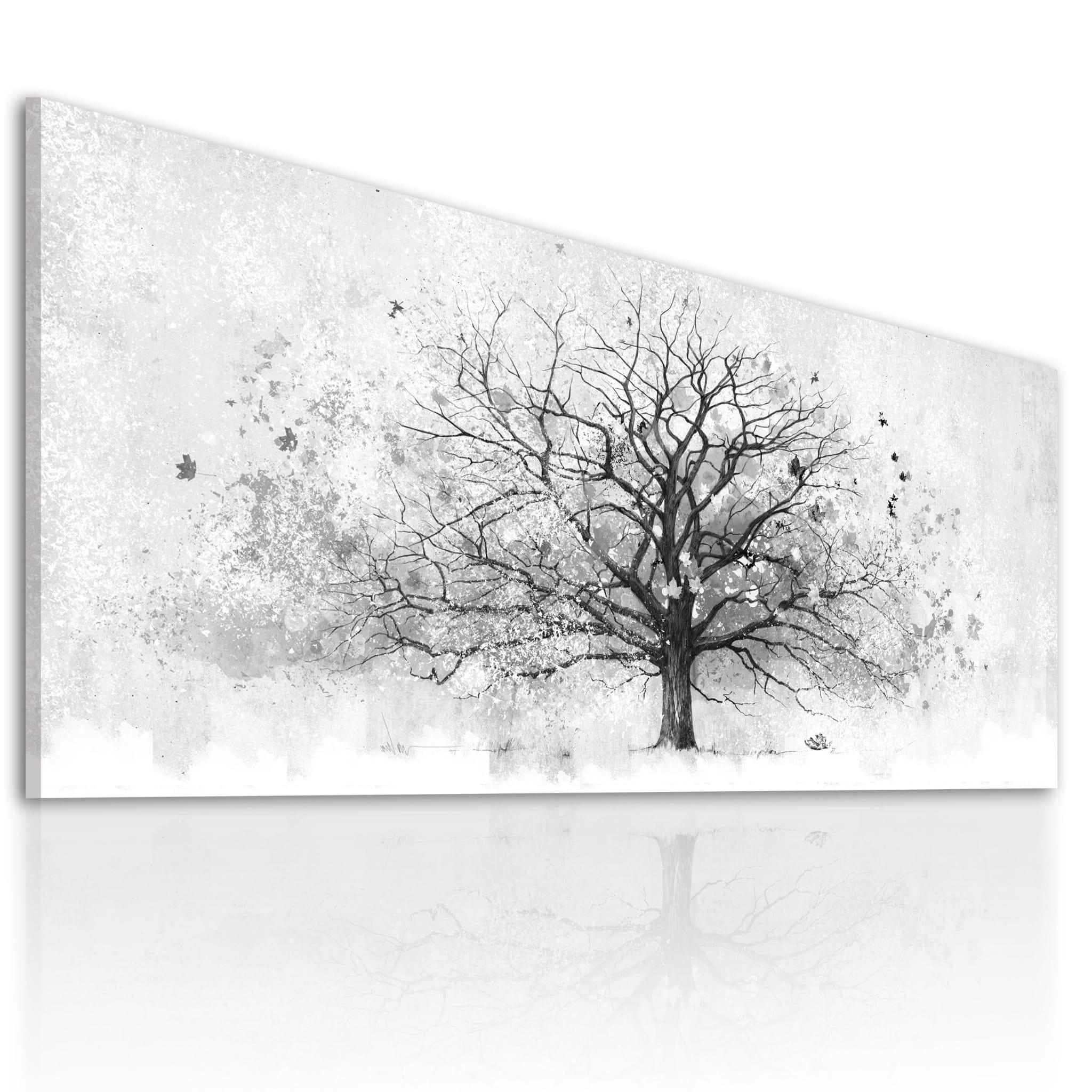 Modne ubrania Nowoczesne drzewo drukowane na płótnie - Abstrakcyjne, czarno TK15